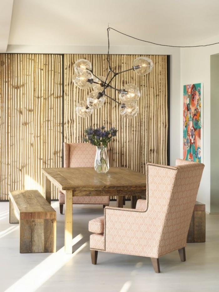 deko ideen deko aus bambus wanddeko gardine