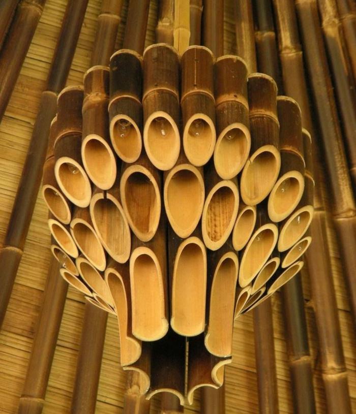 dekoideen deko aus bambus wanddeko lampe