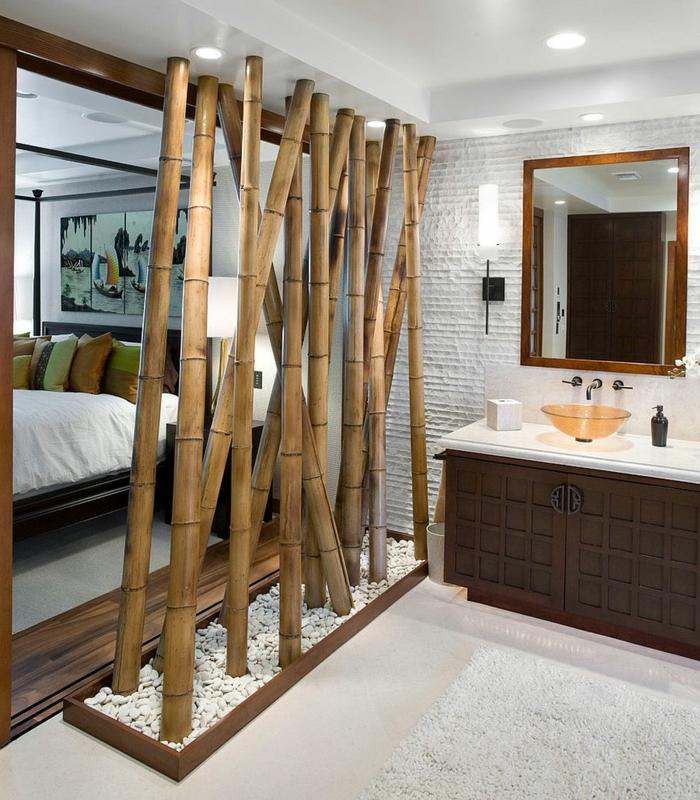 dekoideen deko aus bambus wanddeko stöcke raumtrenner