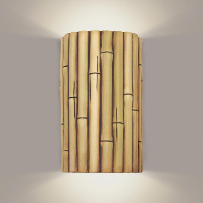 dekoideen deko aus bambus wanddeko wandlampe