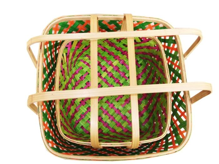 dekoideen deko aus bambus wanddeko windspiel körbe