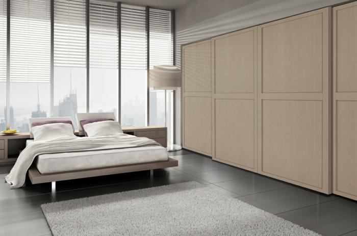kleiderschrank schiebetüren beige stilvoll schlafzimmer teppich bodenfliesen