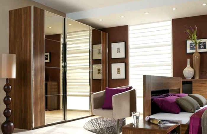 kleiderschrank schiebetüren frontseite spiegel wohnideen schlafzimmer einrichten