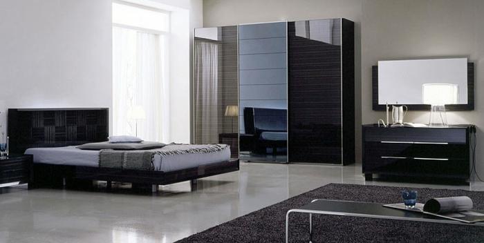 kleiderschrank schiebetüren schwarz männliche ausstrahlung schlafzimmer