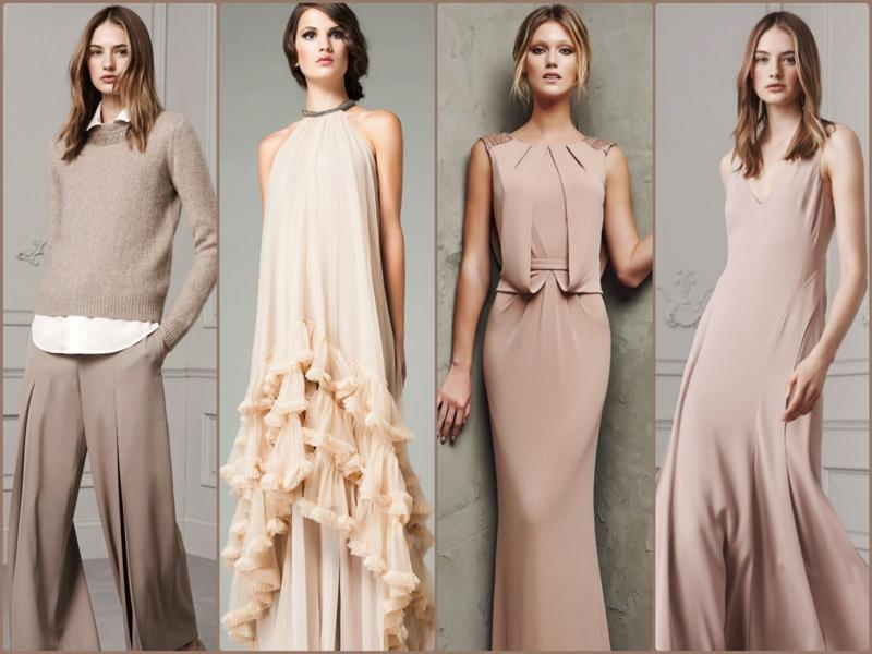 beige Kleider Trendfarben aktuelle Modetrends