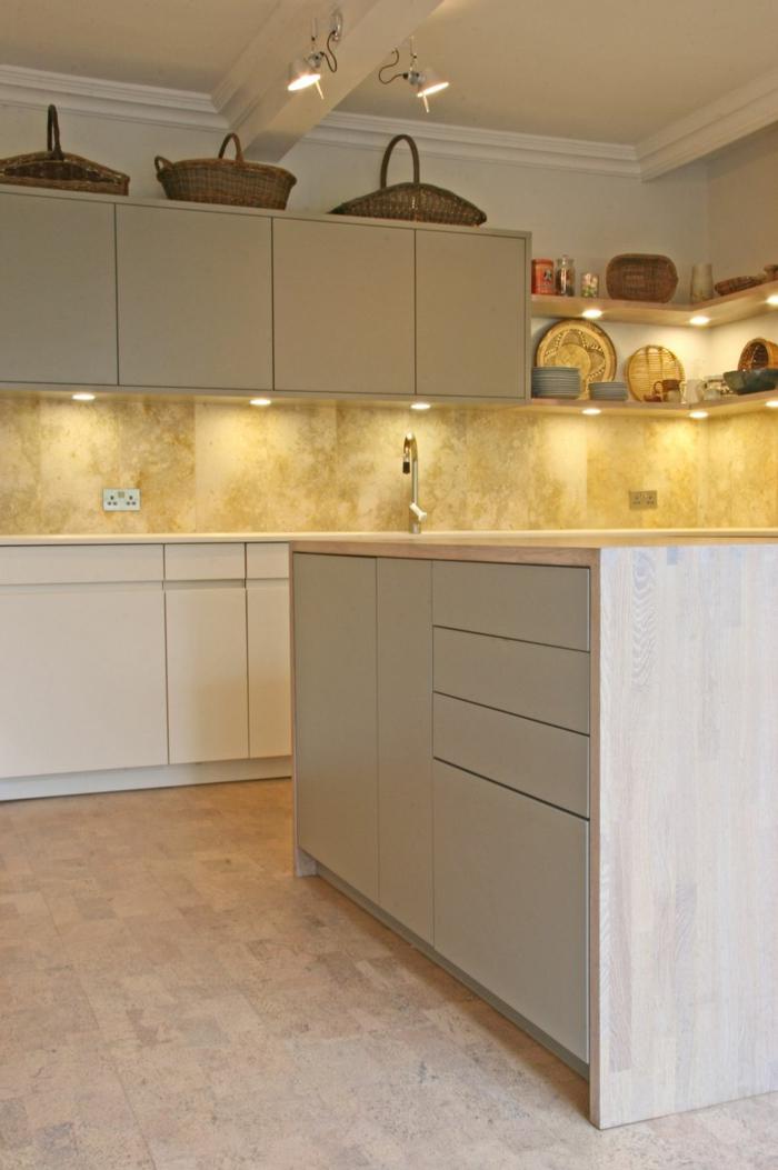 bodenbelag küche kork freistehnde kücheninsel pendelleuchten