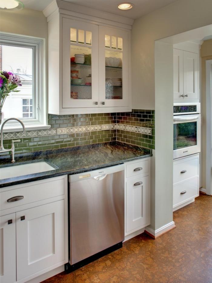bodenbelag küche korkboden küchenideen blumen fliesen küchenrückwand