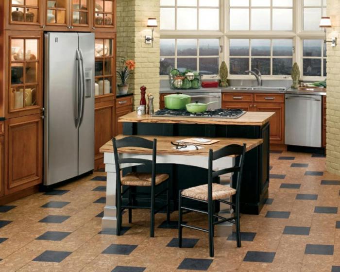 bodenbelag küche korkboden küchenideen kücheninsel esstisch