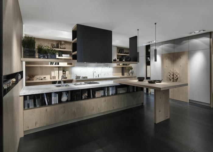 bodenbelag küche laminat schwarz hölterne möbel pflanzen