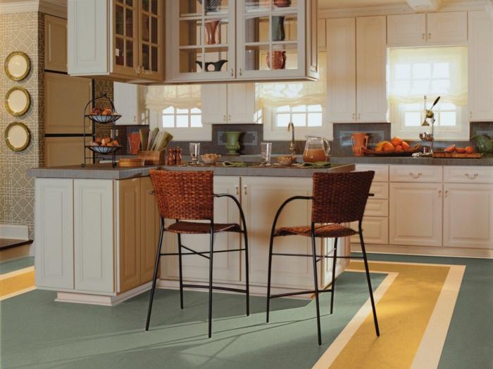 bodenbelag küche linoleum kücheninsel wandgestaltung küche