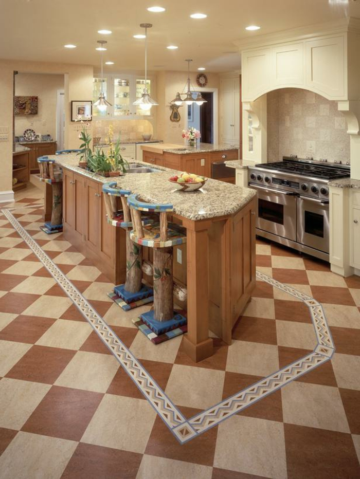 bodenbelag küche vinylboden kücheninsel rustikale barhocker