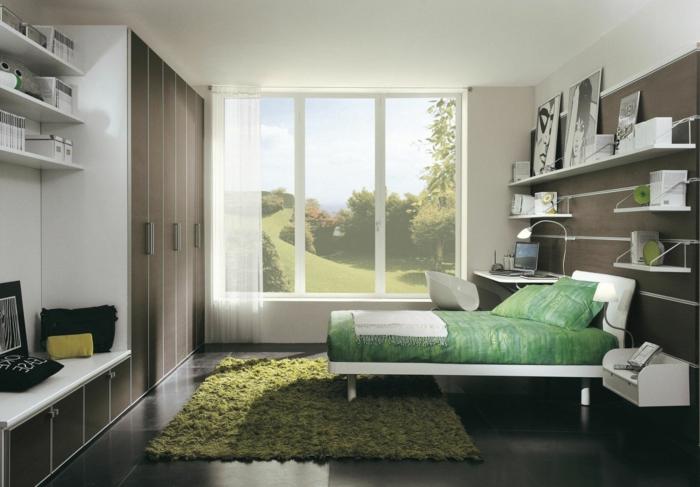 bodenfliesen schlafzimmer dunkle keramische fliesen grüner teppich