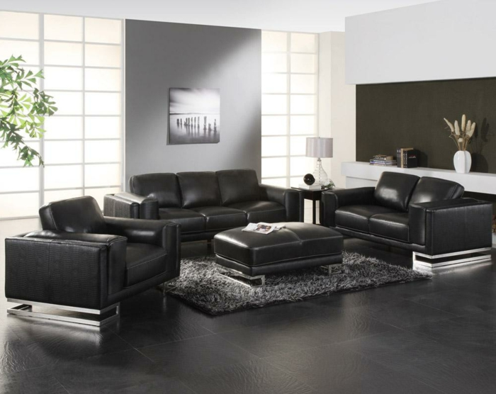 dunkle fliesen wohnzimmer modern. Black Bedroom Furniture Sets. Home Design Ideas