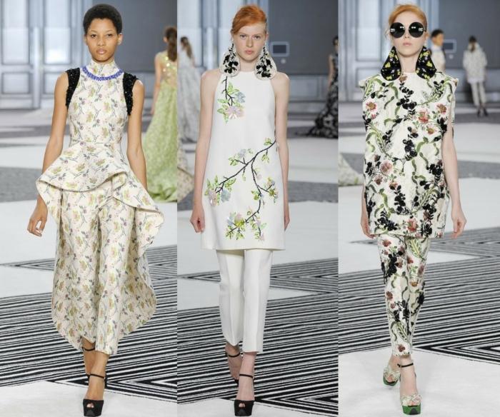 business anzüge damen 2016 fashion catwalk frauenmode florale muster oberteile hosen
