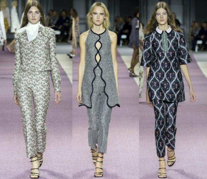 business anzüge damen 2016 fashion catwalk frauenmode klassische retromuster sakko oberteile hosen