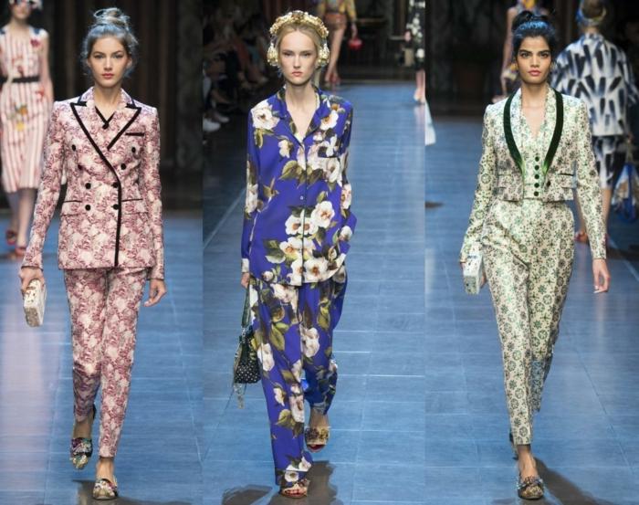 business anzüge damen 2016 fashion catwalk frauenmode muster blumen prints