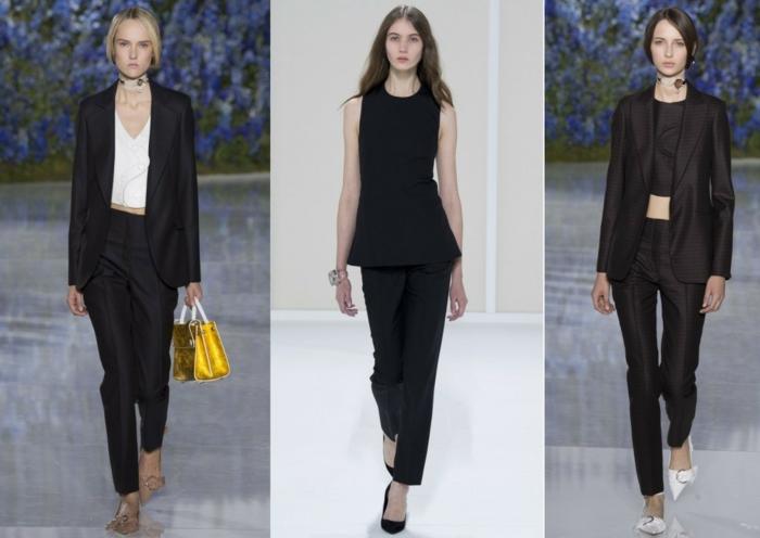 business anzüge damen 2016 catwalk frauenmode sakko oberteil hosen schwarze farbe klassisch