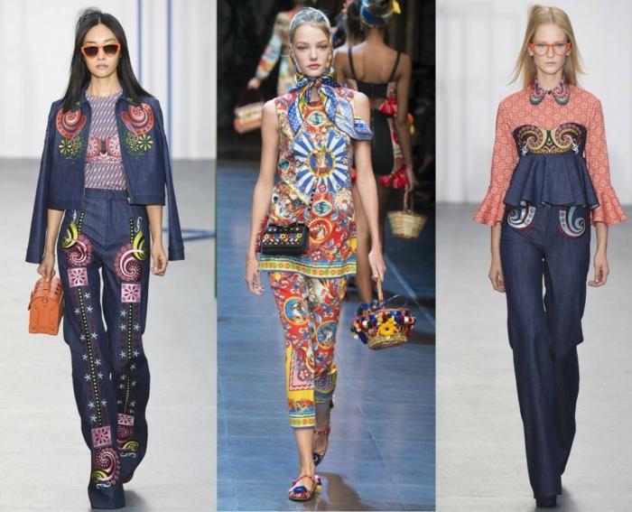 business anzüge damen 2016 fashion catwalk frauenmode tendenzen jeans optik bunte muster