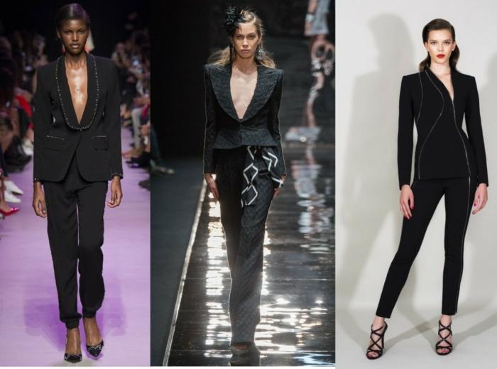 business anzüge damen 2016 fashion catwalk klassischer schnitt sakko hose schwarz