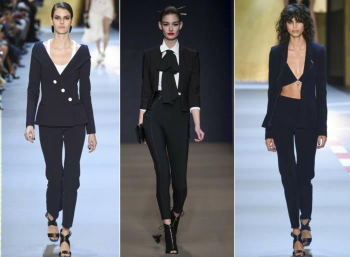 business anzüge damen fashion catwalk schwarze farben sakko hose klassisch