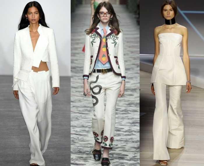 business anzüge damen 2016 fashion catwalk weiß hosen sakkos muster blumen