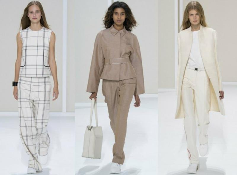 business anzüge damen 2016 haute couture sakkos hosen weiß creme streifen beige hellbraun