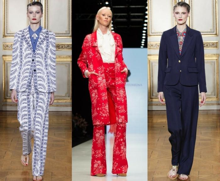 business anzüge damen 2016 tendenzen rot blau weiß muster floral