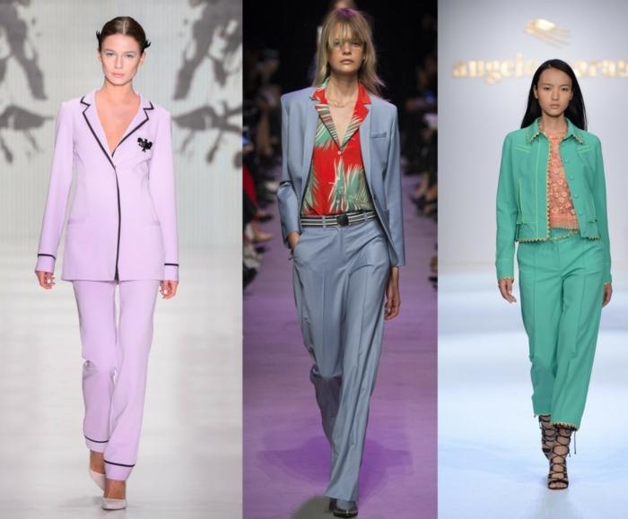 business anzüge damen catwalk blumenmuster hosen sakkos frische farben tendenzen 2016