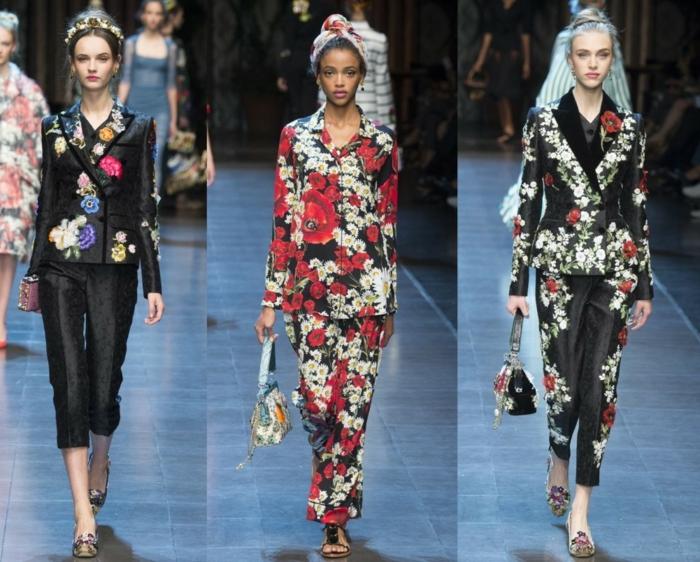 business anzüge damen catwalk blumenmuster hosen sakkos haute couture 2016 tendenz n