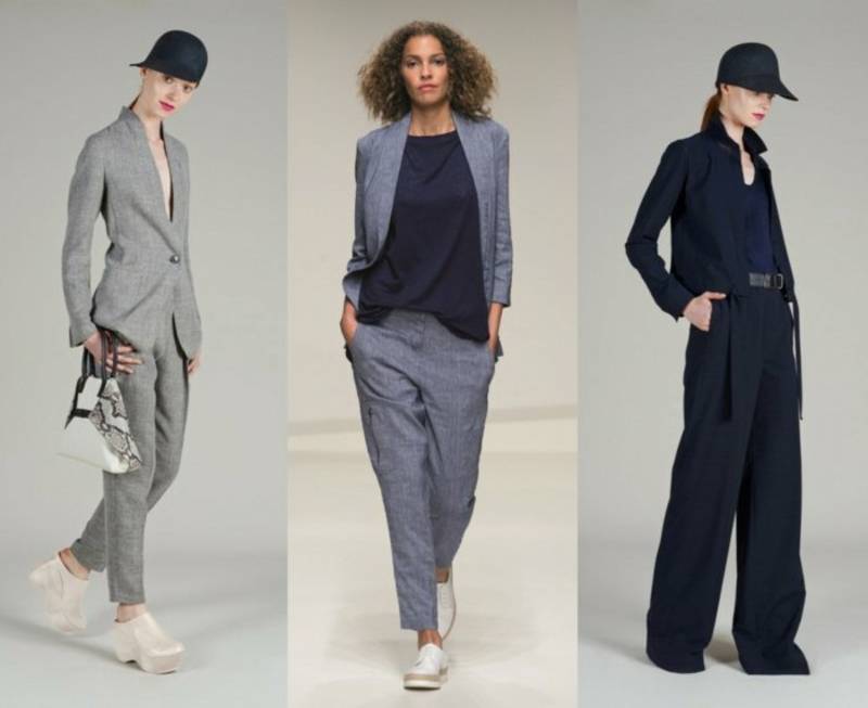 business anzüge damen catwalk sakkos hosen grau blau
