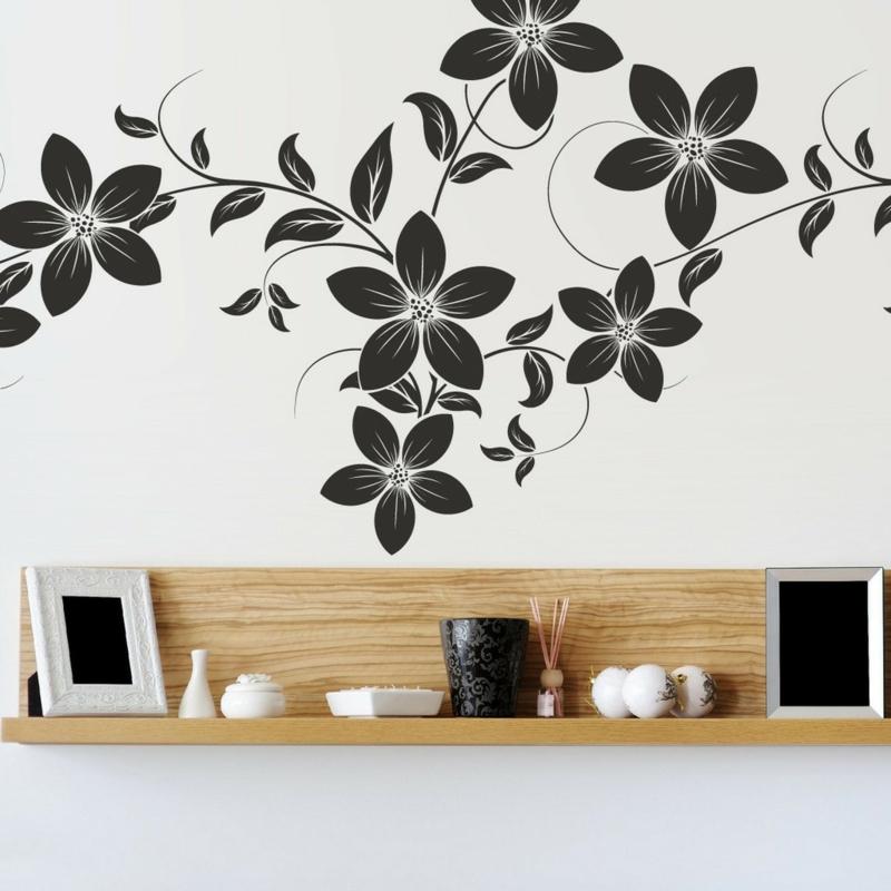 coole Wandtattoos Blumenmuster Wandgestaltung schwarz weiß