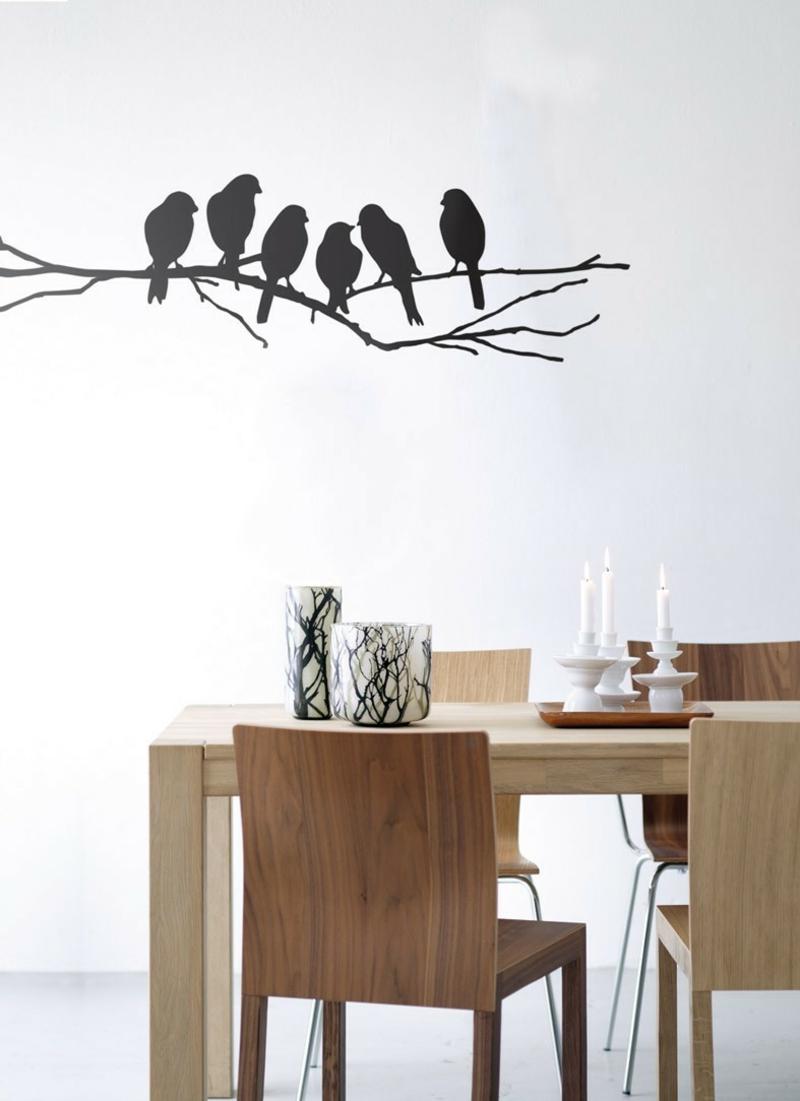 coole Wandtattoos Küche Essbereich Wandfarbe weiß schwarz Vögel Zweig