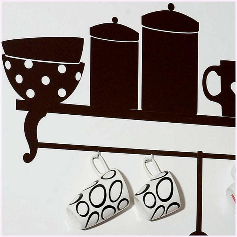 coole Wandtattoos Küche Wandfarbe weiß Küchenregal Wandtattoo