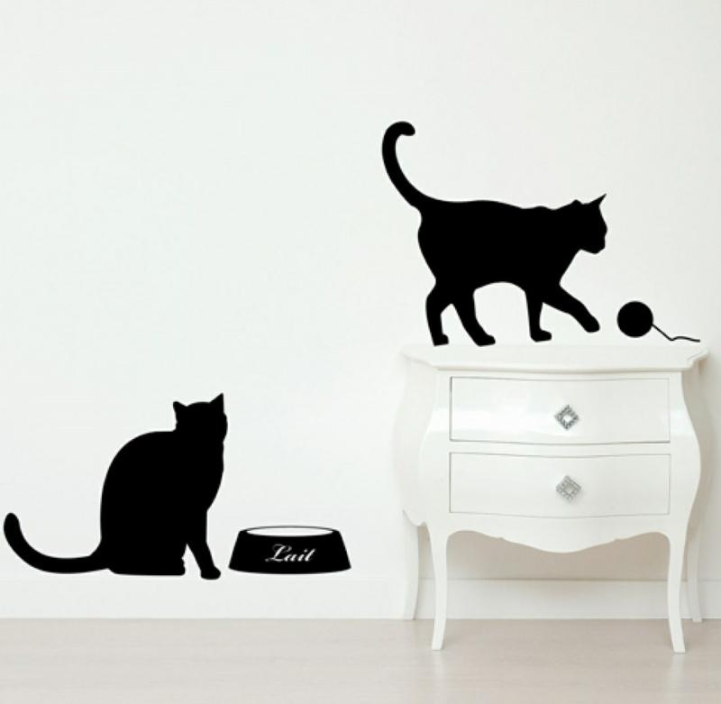coole Wandtattoos Katzen Wohnzimmerdeko Wandgestaltung schwarz weiß