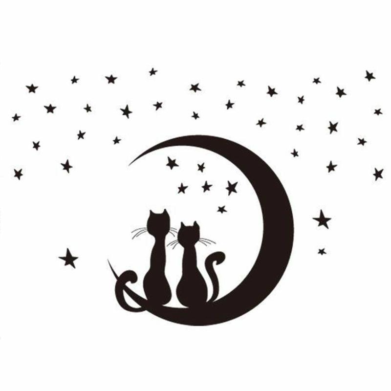 coole Wandtattoos Katzen am Mond Wandgestaltung schwarz weiß