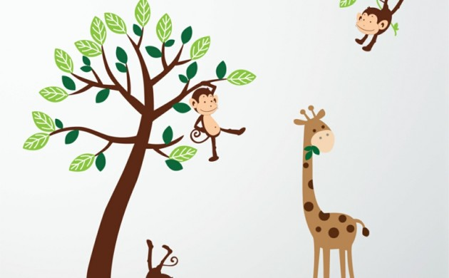 coole-Wandtattoos-Kinderzimmer-Affen-Wandtatoos