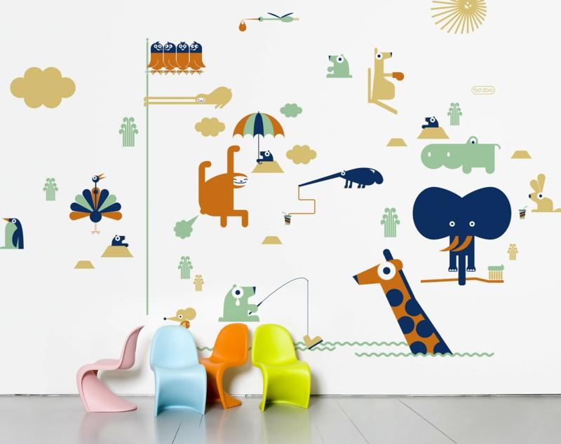 coole Wandtattoos Kinderzimmer Tieren Wandsticker