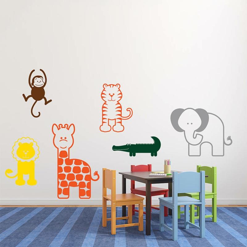 coole Wandtattoos Kinderzimmer farbige Tiere Wandtatoos