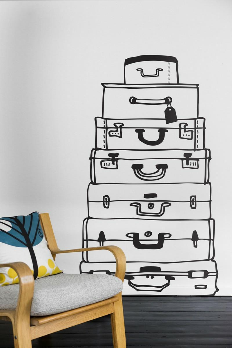 coole Wandtattoos Koffer Wandgestaltung schwarz weiß