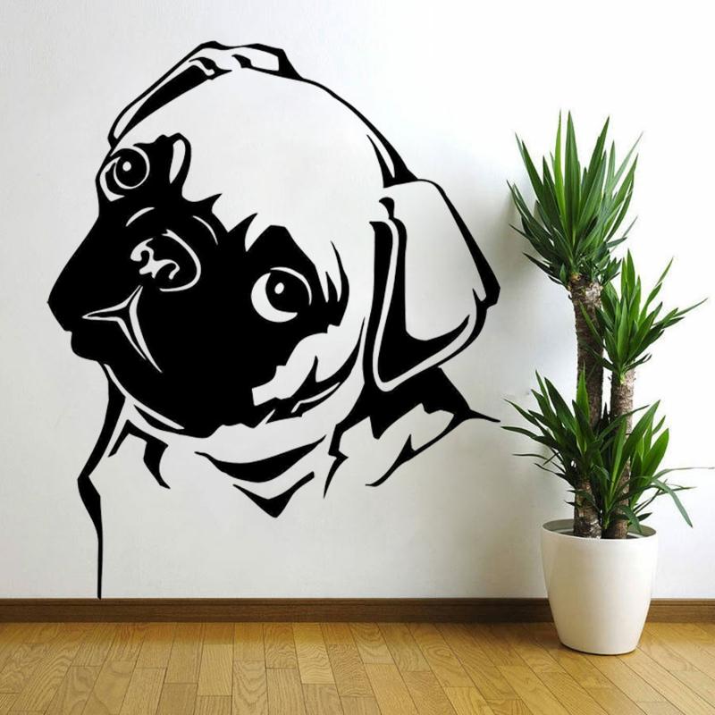 coole Wandtattoos Wohnzimmer Wandfarbe weiß Hund Wandtatoos