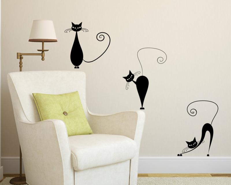 coole Wandtattoos Wohnzimmer Wandfarbe weiß lustige schwarze Katzen