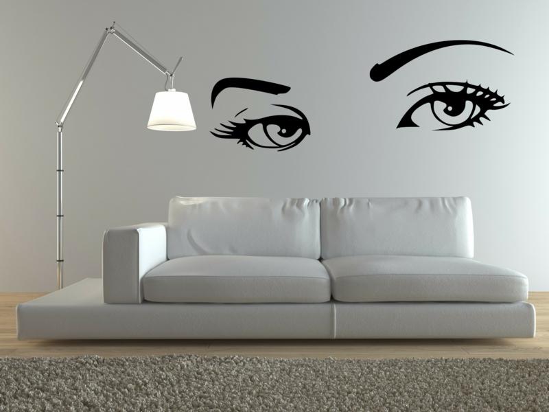 coole Wandtattoos Wohnzimmer Wandfarbe weiß schwarz Augen Wandtatoos
