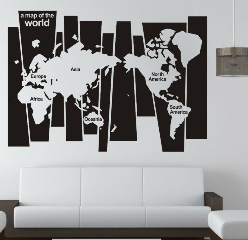 Coole Wandtattoos Wohnzimmer Weltkarte Wandstickers Wohnzimmerdeko