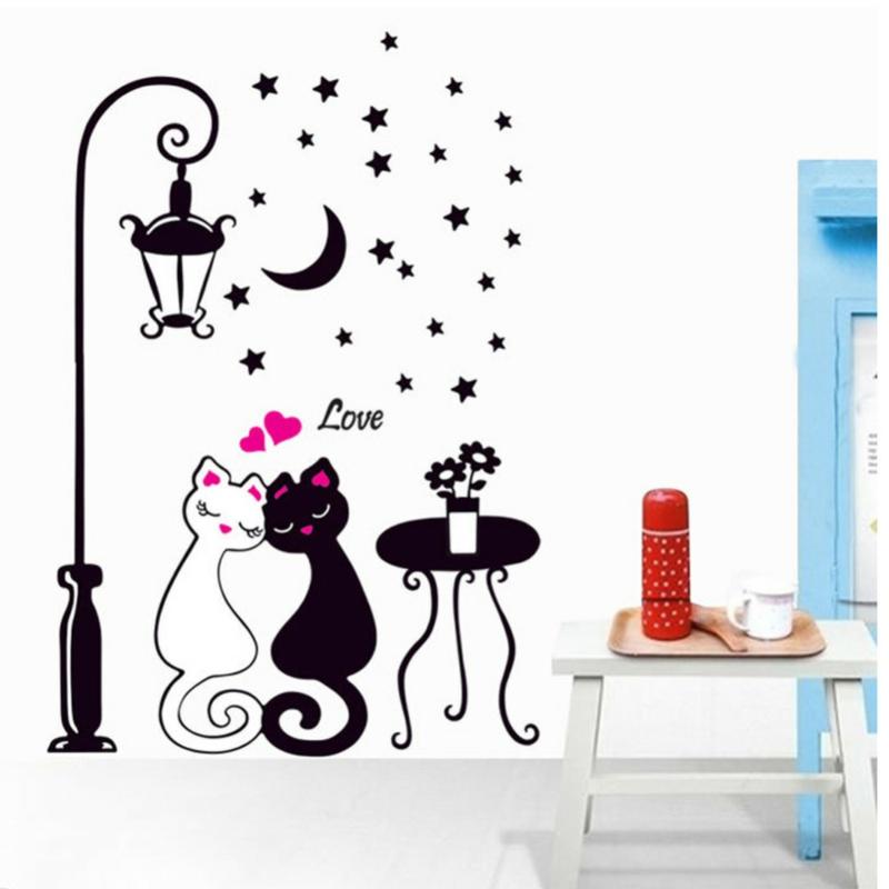 coole Wandtattoos verliebte Katzen Wandgestaltung schwarz weiß