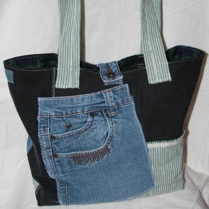 coole bastelideen damentasche alte jeanshose collage patchwork hängetasche selber nähen