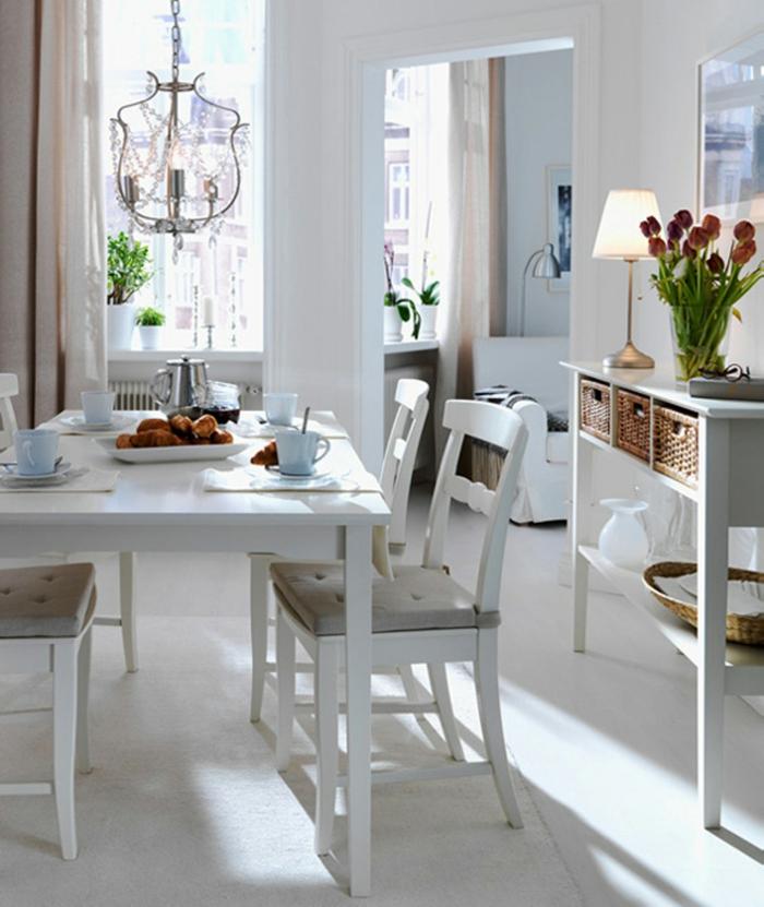 deko ideen esszimmer dekorieren weiße möbel blumen wohnideen