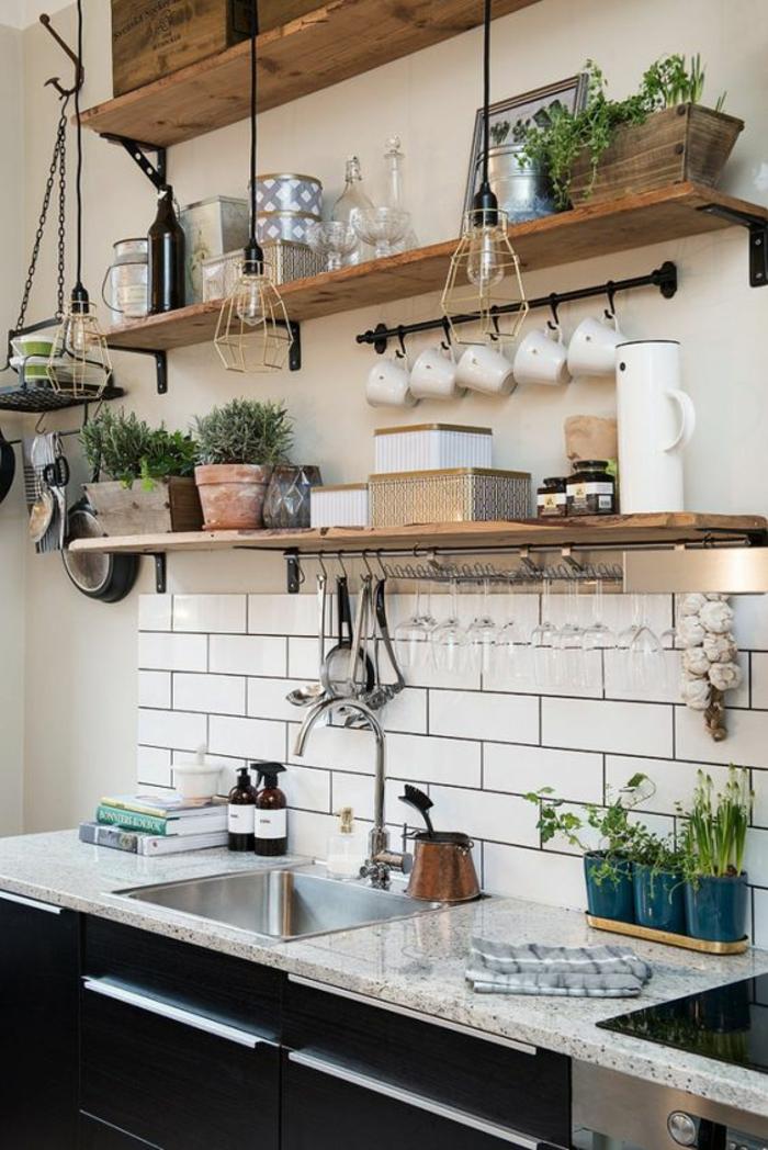 deko ideen küche dekorieren pflanzen weiße fliesen