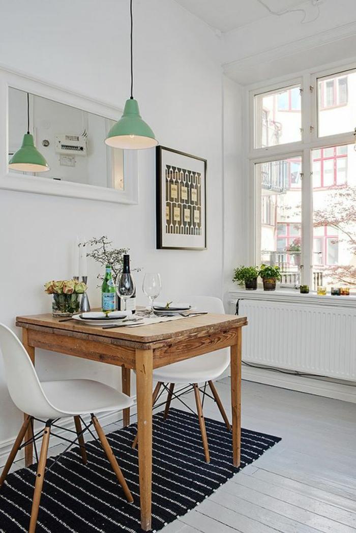 deko ideen wohnideen küche streifenteppichläufer hängelampe holztisch