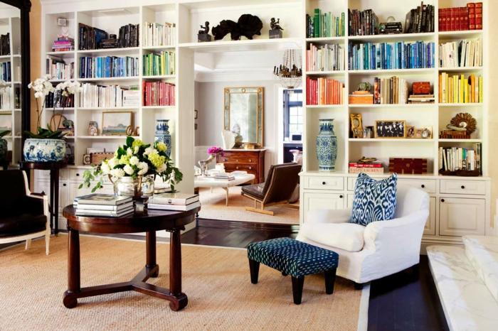 deko ideen wohnzimmer dekorieren sisalteppich bücherregale