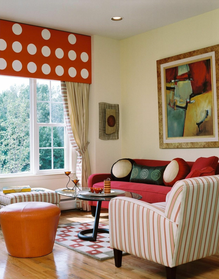 Deko Ideen Wohnzimmer Farbiges Interieur Kleiner Raum Streifen Wohnung ...